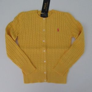 Ralph Lauren Mini Cable Cardigan Sweater Yellow